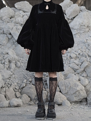 Gothic Rose Thorns Stand Collar Balloon Sleeves Embroidered Dress by Violent Groceries