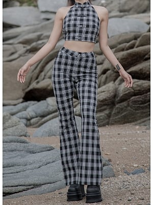 Y2K Plaid High Waist Flared Pants by Violent Groceries