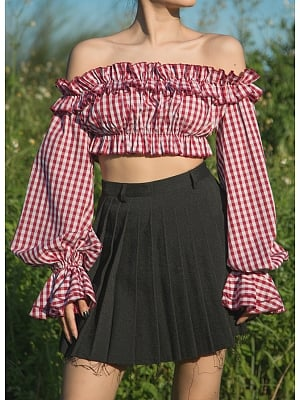 Red Plaid Off-the-shoulder Neckline Lantern Sleeves Cropped Top by Violent Groceries