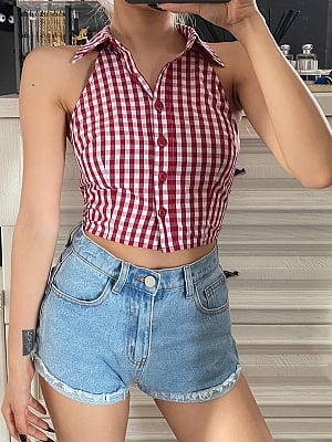 Y2K Red Plaid Turndown Collar Sleeveless Cropped Top by Violent Groceries