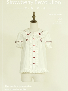 Strawberry Revolution Peter Pan Collar Sweet Lolita Shirt by World Illusion
