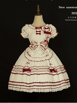 A Girl's Mind Sweet Country Style Lolita Dress OP Full Set by World Illusion