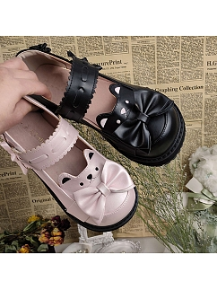 Sweet Bear Round Toe Lolita Shoes Platforms by Witch's Night Lolita