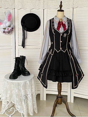 The Fallen Magician Ouji Style Lolita Set Skirt / Shirt / Shorts / Vest Dress by With PUJI