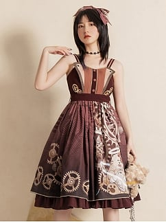 Influencer Steam Punk Lolita Dress Mechanical Cat Print JSK by With PUJI