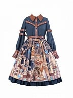 Blurred Manual Steam Punk Lolita Dress Mechanical Bear Print OP by With PUJI