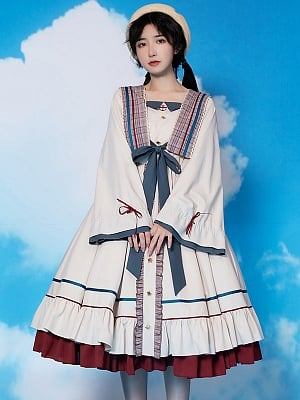 The Evening Breeze Long Sleeve Lolita Dress OP by With PUJI
