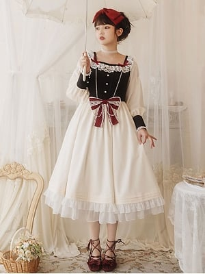 Spring Tea Party Leg-of-mutton Sleeve Doll Lolita Dress OP by With PUJI