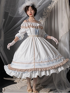 Sea Breeze Off-the-shoulder Elegant Lolita Dress OP by With PUJI