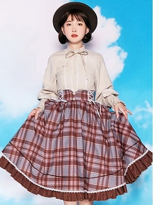 Mocha Manor Country Style Lolita Plaid Skirt / Shirt by With PUJI