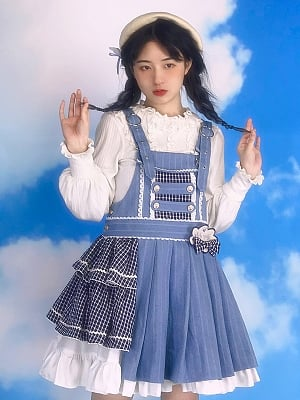 The Plane Tree Lolita Asymmetric Denim Overall Dress JSK by With PUJI