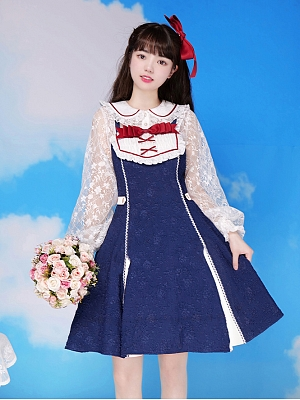 Snow White Ballad Lace Sleeve Lolita Dress OP by With PUJI