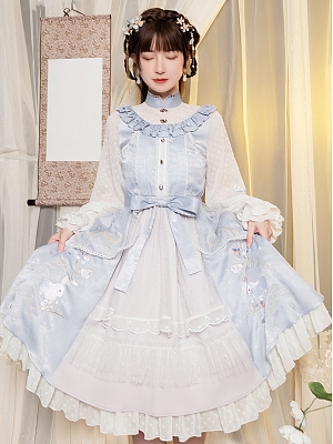 Silver Candle Embroidered Bunny Qi Lolita Dress OP by With PUJI