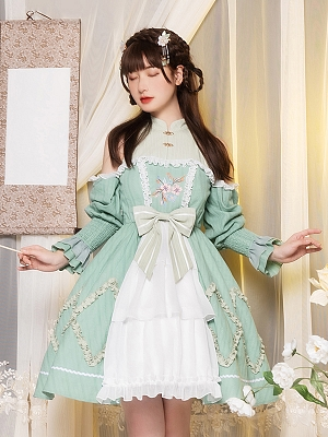 Painted Screen Open Shoulder Qi Lolita Dress OP by With PUJI