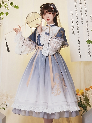 Small Fan Stand Collar Qi Lolita Dress OP by With PUJI