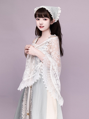 Streamer Retro Lolita Lace Cape by With PUJI