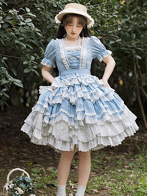 Blue Girl Short Sleeves Doll Lolita Dress OP by With PUJI