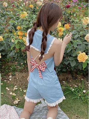 Sailing Girl Backless Top / Lace Hem Shorts by Yogurt Design