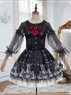 Rozen Maiden Black Lolita Top and SK Full Set by YINGLUOFU