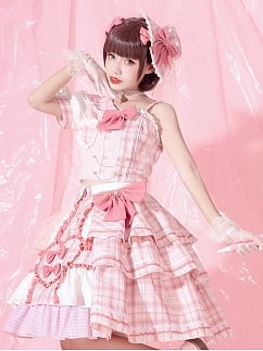 Pink Plaid Sweet Lolita Idol Skirt Set by YINGLUOFU