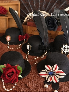 Handmade Gothic Steampunk Multiple Styles Mini Top Hat Hairclips by Ye Mo