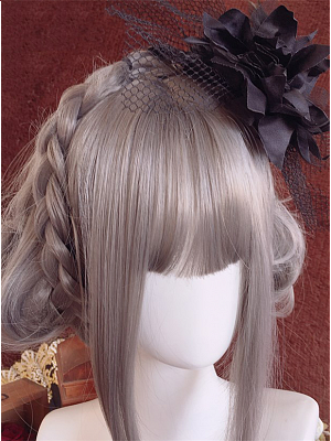 Handmade Gothic Lolita Flower Feather Mini Top Hat Hairclip by Ye Mo
