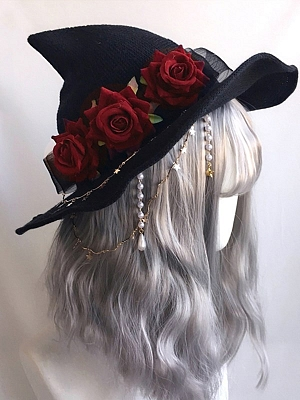 Handmade Lolita Velvet Rose Witch Hat by Ye Mo