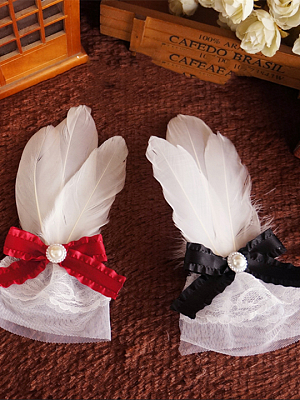 Handmade Gothic Lolita Feather Bowknot Hairclips by Ye Mo