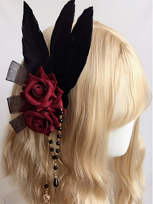 Handmade Gothic Lolita Hanayome Lace Rose Feather Hairclip by Ye Mo