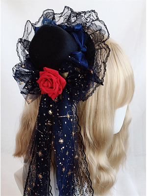 Handmade Gothic Lolita Lace Bowknot Mini Top Hat Hairclip by Ye Mo