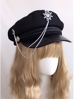 Gothic Lolita Chain Military Style Hat by Ye Mo