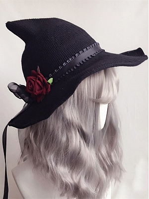 Handmade Lolita Rose Flower Big Bowknot Witch Hat by Ye Mo