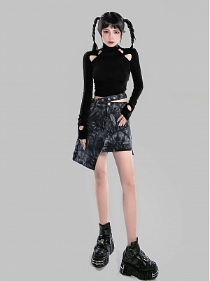 Punk High Neck Long Sleeves Cut Out Top by YUBABY