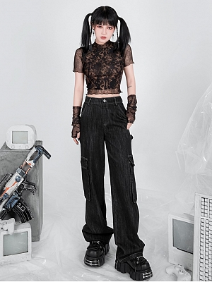 High Neck Short Sleeves Perspective Mesh Cropped Top with Arm Warmer by YUBABY