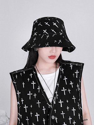 Cross Doodle Print Bucket Hat by YUBABY
