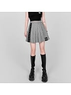 Houndstooth JK Heart-shaped Embroidered Pleated Skirt by YUBABY