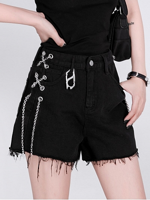 Punk High Waist Metal Chain Lace-up Wide Legs Shorts by YUBABY
