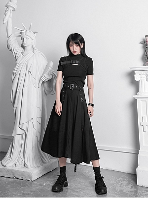 Punk Fake Two-pieces Stand Collar Short Sleeves Side Release Buckle Cropped Top by YUBABY
