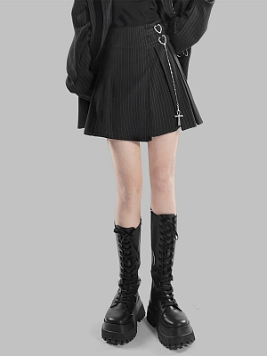 Punk High Waist Heart-shaped Buckle Cross Chain Decorative Striped Pleated Skirt by YUBABY