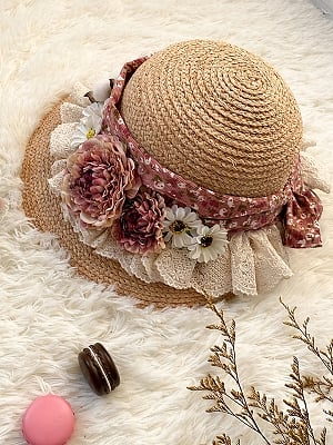 Little Blanca Country Style Lolita Straw Hat by Zjstory