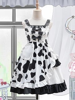 Cow Print Asymmetric Skrit Sweet Lolita Dress JSK by ZhiJinYuan