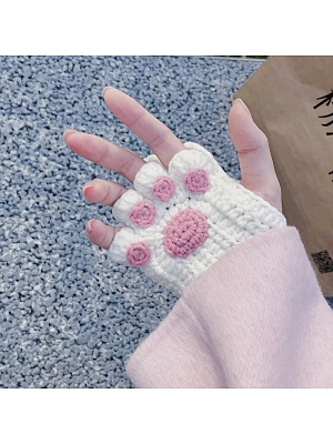 Kawaii Kitty Paws Finglerless Gloves DIY Package and End Product Two Options