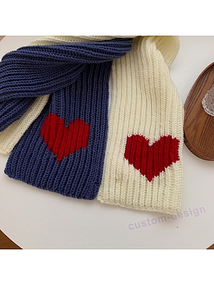 Warm Scarf with Red Heart Shape Decoration DIY Package