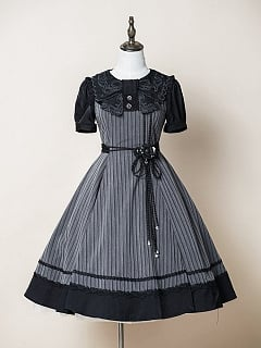Nocturnal Rose Lolita Dress OP Striped Version by ZeeYe Studio