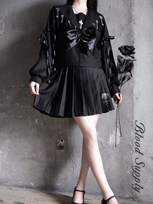 Gothic Metal Accessories Long Sleeves Top and Rose Embroidery Pleated Skirt Set by Blood Supply