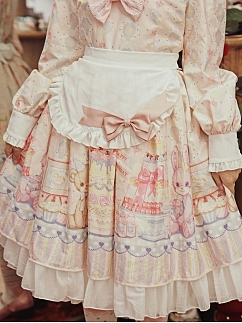 Ready to Ship - Teddy's Birthday Party Sweet Lolita Dress Matching Apron by Lollipops Lolita