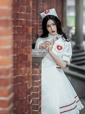 Gothic Nurse Lolita Dress with Free Nurse Hat and Arm Wear