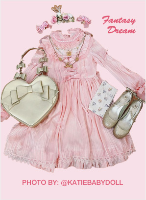 fantasy dream pure color lolita dresses pink, black and whtie three colors available