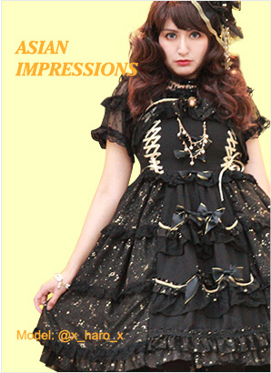 asian impressions collection lolita dresses with black white and navy blue three colors