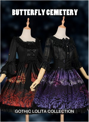 gothic lolita butterfly printed lolita dresses